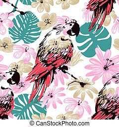 Exotic summer seamless pattern, flowers leaves and parrots