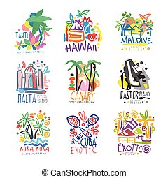 Exotic summer vacation colorful logo set. Tropical islands,...