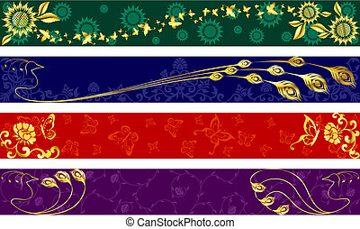Four exotic web banners inspired by Indian sari designs. Full Banner format. Graphics are grouped and in several layers for easy editing. The file can be scaled to any size.