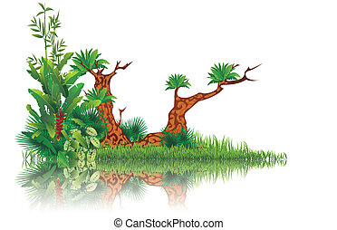 exotic swamp - vector illustration of exotic swamp with...