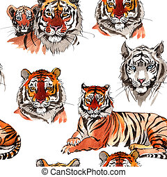 Exotic tiger wild animal pattern in a watercolor style. -...
