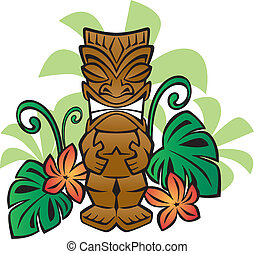 Illustration of a Tiki statue in the jungle.