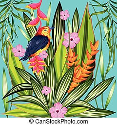 Exotic Tropical Background - illustration of exotic tropical...