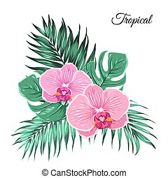 Exotic tropical bouquet orchid leaves