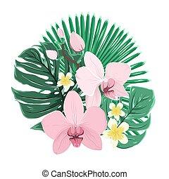Exotic tropical bouquet orchid plumeria leaves