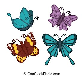Exotic tropical butterflies with unusual elegant wings set