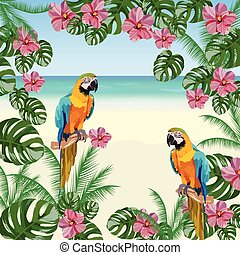 Exotic tropical card with parrot birds and flowers
