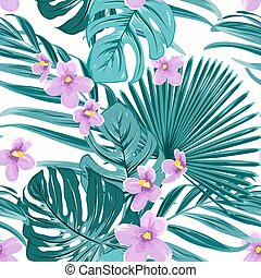 Exotic tropical floral greenery seamless pattern