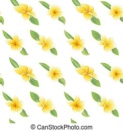 Exotic tropical flowers hibiscus frangipani and green leaves seamless pattern