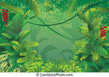 exotic tropical forest - vector illustration of exotic ...