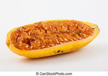 Exotic tropical fruit called curuba