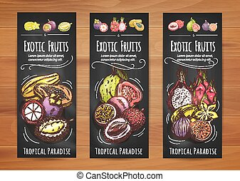 Exotic tropical fruits banners for food design