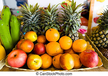 Fruits that are sold in the Thai market.