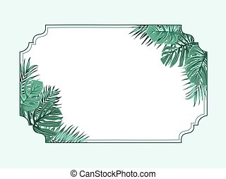 Exotic tropical horizonal border frame corners - Exotic...