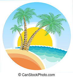 Exotic tropical island with palms and sun on round symbol ...