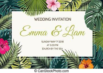 Exotic tropical jungle wedding event invitation