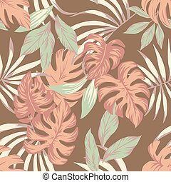 Exotic tropical leaves indian summer color seamless pattern