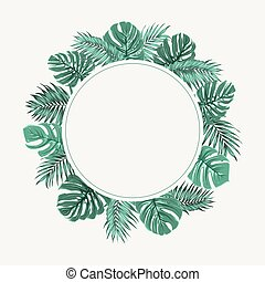 Exotic tropical leaves wreath border frame green