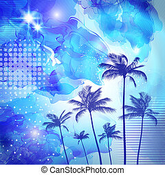 Exotic tropical palm trees with fantasy sunset background . Hig