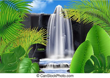 Exotic Waterfall Realistic Background