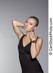 exotic woman with short hair, beauty style portrait