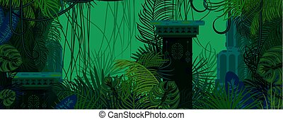 Exotic woods green wild nature background.