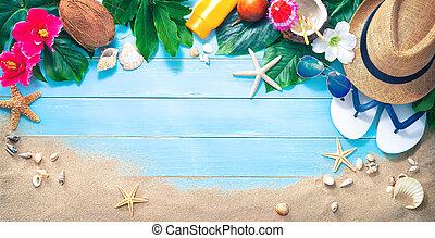 exoticas, óculos de sol, coquetel, palha, areia praia, chapéu