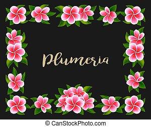 exoticas, cor-de-rosa, quadro, tropicais, selva, convite, ...