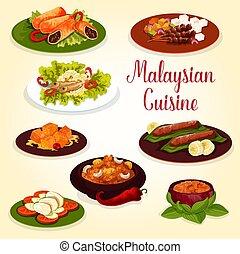 exoticas, cozinha, alimento, malaysian, ingrediente, ícone