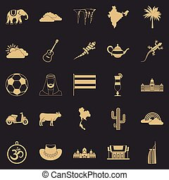 exoticas, estilo, ícones, jogo, simples, animal