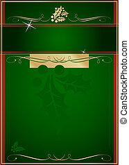exoticas, holly, e, florescer, adorned, cartão natal, ou, tag