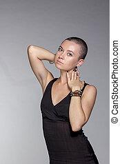 exoticas, mulher, com, cabelo curto