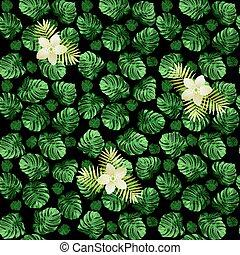 exoticas, padrão, folhas, seamless, monstera, escuro, flowers., experiência verde, blossoms.