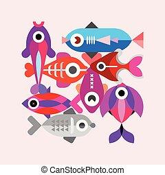 exoticas, peixe, vetorial, ilustração