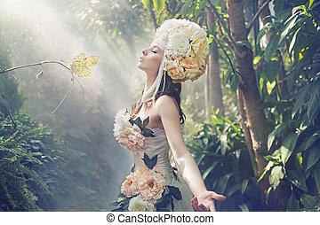 exoticas, quadro, mulher, fantasia