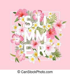 exoticas, verão, moda, folhas, tropicais, t-shirt,...