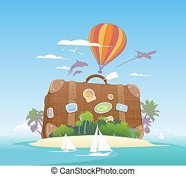 exotique, énorme, island., valise