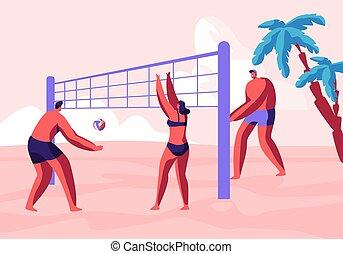 exotique, été, ados, activité, sport, sablonneux, récréation, palms., vacances, plage, loisir, plat, illustration, côte, jeu, tournoi, dessin animé, style de vie, sain, volley-ball, océan, vecteur, équipe, jouer