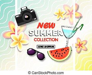 exotique, été, banner., vente, collection, fleurs tropicales, cocktail., appareil photo, endroit, texte, fond, nouveau, pastèque, lunettes soleil