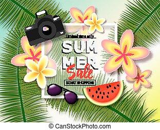 exotique, été, banner., vente, texte, feuilles, exotique, flowers., appareil photo, endroit, fond, paume, pastèque, lunettes soleil
