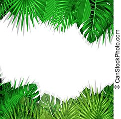 exotique, été, cadre, feuilles, fond