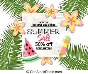 exotique, été, cream., banner., vente, texte, exotique, endroit, glace, fond, fleurs, pastèque