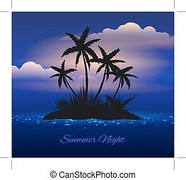 exotique, été, nuit, paume, île