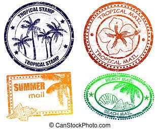 exotique, été, timbres