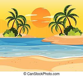 exotique, îles, sur, coucher soleil
