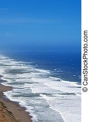exotique, angle, vertical, image, élevé, plage, vue