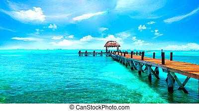 exotique, antilles, paradise., voyage, tourisme, ou, vacances, concept., plage tropicale, recours