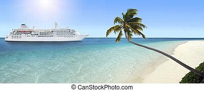 exotique, arrivant, plage, bateau croisière