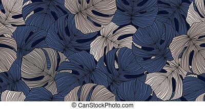 exotique, b, pattern., ligne, arrière-plan., moderne, seamless, monstera, feuilles, exotique
