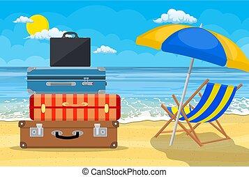 exotique, bagage, fond, bagages, valises